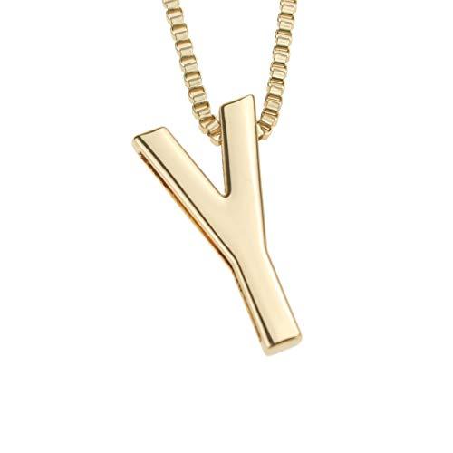 Udekit Mode Metall Gold DIY Buchstabe Y Initialen Kette Name Anfangsbuchstabe Anhänger Halskette für Frauen Männer Erwachsene Kind (Initial Halskette Kind)