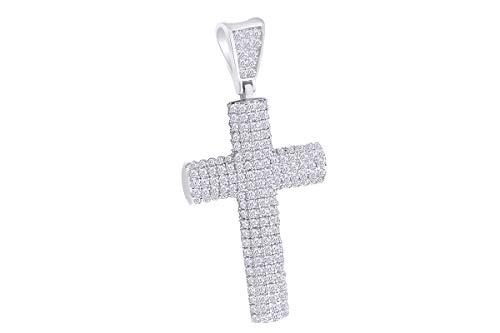 AFFY - Gold 9 Karat (375) 10-Karat-Weißgold Leicht Getöntes Weiß/Crystal (J) Diamant (10k Weiß Gold Herren Kreuz-anhänger)