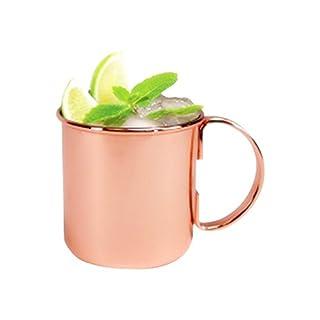 ZNYSTAR Moscow Mule BecherEdelstahl-Moskau-Maultier-Kupferbecher Bier-Becher-Kupferbecher Rosen-Goldgetränk Trinkbecher Kupfer Tasse Mule Becher Kupfer 450ML(#1)