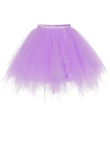 RuiyuhongE Frauen 1950er Jahre Vintage Short Petticoat Ballett Bubble Tutu Rock (L/XL, Lavender) (Saum Rock Falte)