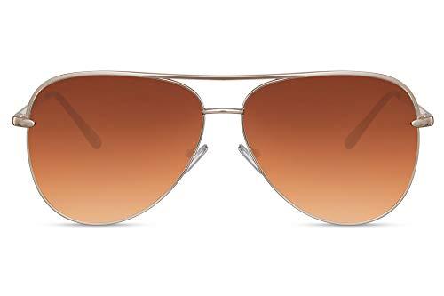 Cheapass Flieger-Sonnenbrille Braun UV-400 Gradient Piloten-Brille Festival-Accessoire Metall Damen Frauen