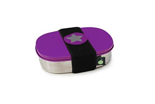 do dotty BOX schadstofffreie Edelstahl Brotdose lila (16,5x12x4) ohne Trennsteg und Klettmotiv zum individualisieren für Kindergarten und Schule