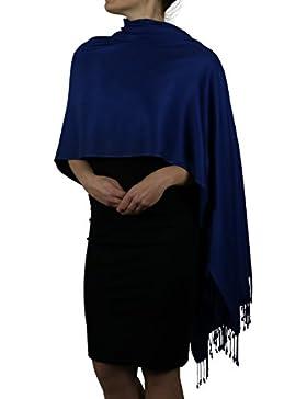 Sciarpa pashmina da donna - Con Nappine - Appendino gratuito (20+ colori), fatta a mano