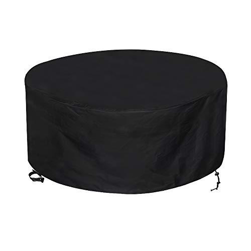 Awnic Schutzhülle für Rund Gartentisch Abdeckung für Möbelsets 4 bis 6 Sitze Reißfest Wasserdicht 210D Oxford Ø130X71cm