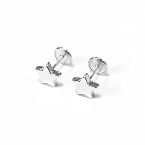 monde-petit-ag-3138-silver-and-zircon-smooth-star-baby-girl-earrings