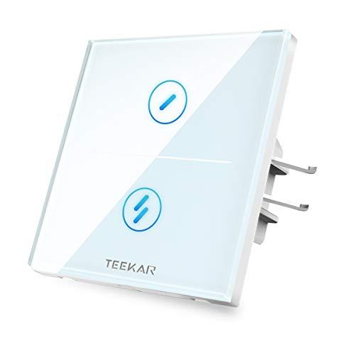 TEEKAR 【Schaltbare LED】 Digitale Zeitschaltuhr Smart Alexa Lichtschalter Kompatibel Mit Alexa/Google Home,WLAN Smarthome Schalter mit 80mm Schalterdosen Unterputz,APP Fernbedienung(2-Fach) (Spiel Lichtschalter)