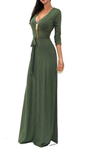 EMIN Damen Lange Ärmel tiefem V-Ausschnitt-Partei-Kleid-Maxi langes Abendkleid Armgrün