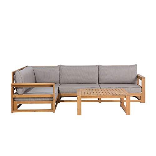 Beliani Lounge Set Akazienhartholz braun Timor