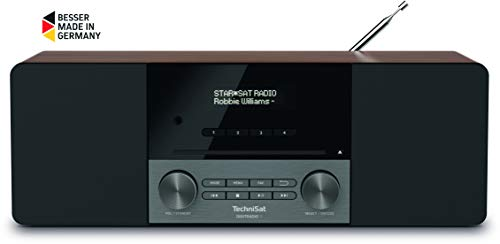 TechniSat Digitradio 3 Stereo DAB Radio - Kompaktanlage (DAB+, UKW, CD-Player, Bluetooth, USB, Kopfhöreranschluss, AUX-Eingang, Radiowecker, OLED Display, 20 Watt RMS) nussbaum