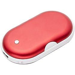 Seasons Shop Rechargeable Chauffe-Mains 2-en-1 USB Pocket Chauffe-Mains Électrique 5200mAH Portable Batterie Externe pour Ski Randonnée Camping Cadeaux Etc