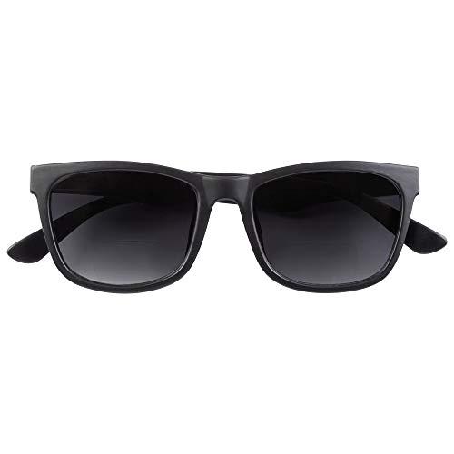 Babsee Bifokale Sonnenbrille für Damen und Herren Modell Neil 2.5 | Es ist fast keine Linie sichtbar Bifokale Sonnenbrille mit UV-Schutz Schwarz mattiert | Flexible Scharnierlinsenbreite