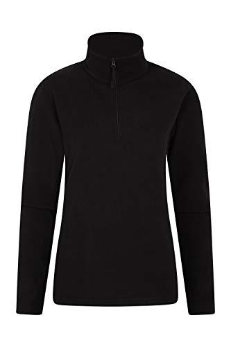 Mountain Warehouse Camber Damen-Fleece mit halbem Reißverschluss - atmungsaktiv, leicht, warm, fusselfrei, mit hoher Feuchtigkeitsregulierung - für den Frühling Schwarz Small - Fleece Thermo-pullover