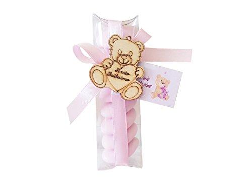 Irpot - 24 porta confetti 05210 + decorazioni in legno battesimo 1130002+ nastrino+ bigl (rosa)