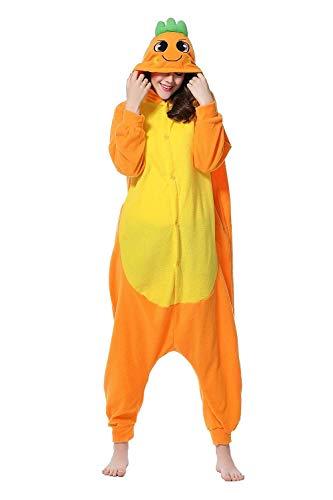 Karotte Kostüm Damen - URVIP Erwachsene Unisex Jumpsuit Tier Cartoon Fasching Halloween Pyjama Kostüm Onesie Fleece-Overall Schlafanzug Karotte X-Large