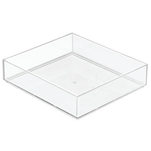 InterDesign Clarity rangement de tiroir, grand range couverts en plastique, organiseur de tiroir pour couverts et autres ustensiles, transpa