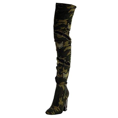 Angkorly - Damen Schuhe Oberschenkel-Boot - Flexible - Reitstiefel Kavalier - Biker - zerrissene - Fischnetz Schuh - Camouflage Blockabsatz high Heel 10.5 cm - Tarnung B7715 T 39 -