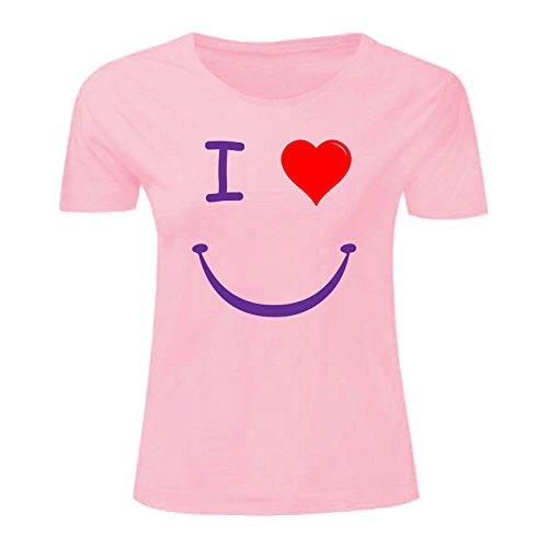 Art T-shirt, Maglietta I love Smile, Donna Rosa