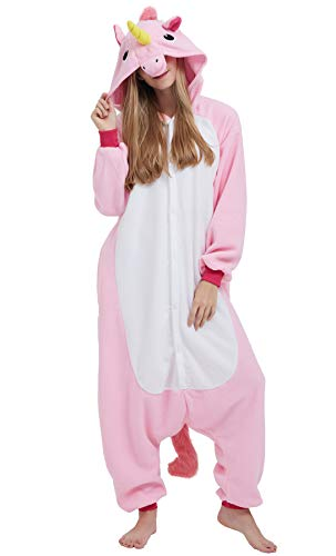Kigurumi pigiama anime cosplay halloween costume attrezzatura adulto animale onesie unisex, rosa unicorno per altezze da 140 a 187 cm