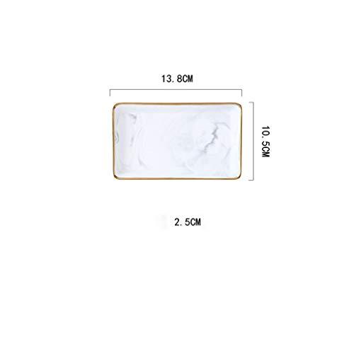 Queen Boutiques Nordischen Stil Marmor Gold Lagerung Keramik Schmuck Tablett Desktop enthalten Fotografie Requisiten Bad Kommode Tablett (Color : Grey S)