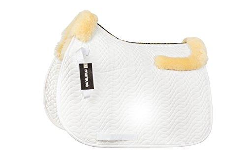 Merauno Pelz GP Sattel Pad Full Decke Dressur Springen Satteldecke Schabracke & quadratisch Sattel Pads Reiten Show Allgemeine Zwecke Pad, Natural Wool+White Quilting, VSS. -