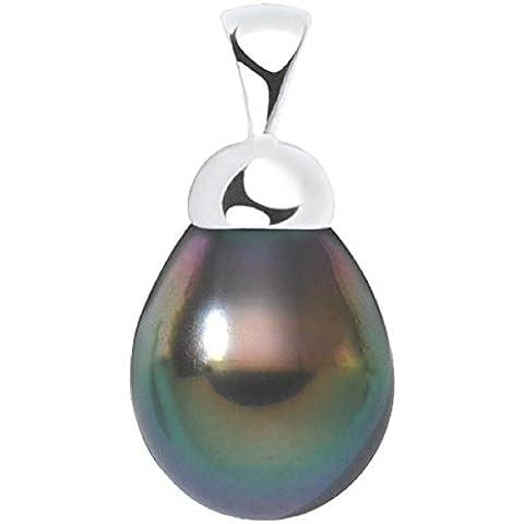 mitéki–Ciondolo Perla di Tahiti–Argento 925/00–Diametro della perla: 9a 10mm–Angelo