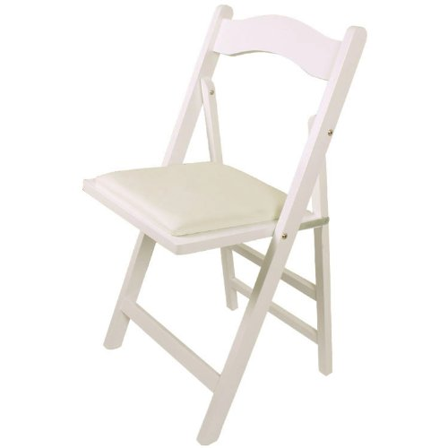 SoBuy FST06-W Chaise pliante en bois avec assise rembourrée, Chaise pliable pour Cuisine, Bureau, etc --Blanc