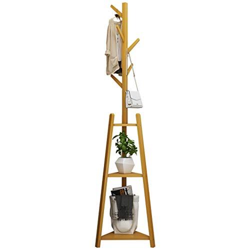garderobe vintage wei  WZ-Kleiderhaken Vertikale Mehrzweck Garderobe Bambus und Holz Kleiderbügel Haken 2 Schicht Handtasche Hut Schuhe Lagerregal (177cm)