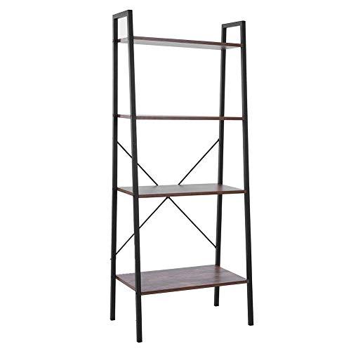 Estink Standregal, 4 Tier Leiterregal Bücherregale Wandregal Pflanzenregal, Stabiles Metall für den Rahmen, aus MDF und Stahl, Vintage Stil, für Wohnzimmer, Schlafzimmer, Küche -