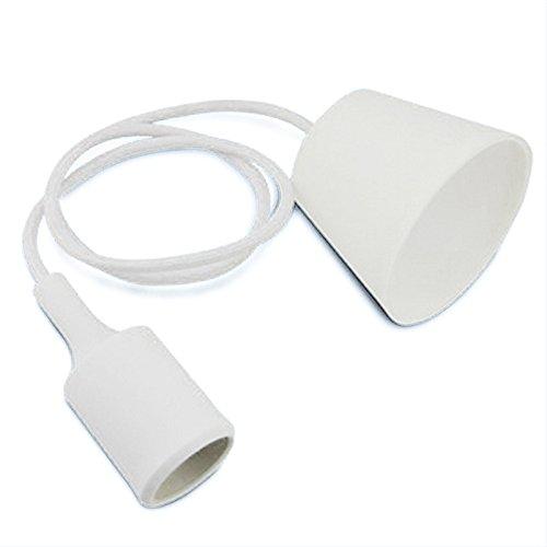 QHGstore Titular E27 40W lámpara moderna tapa de plástico suave luz colgante del enchufe del zócalo de la UE blanco