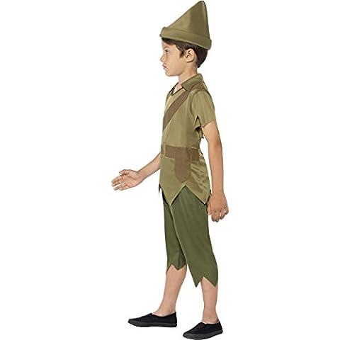 Peter Pan Kinderkostüm Waldläufer Mittelalterkostüm S 4-6 Jahre 110-128 cm Mittelalter Räuber Märchenkostüm Robin Hood Kostüm Karnevalskostüme Jungen Bogenschütze Dieb Faschingskostüm Jäger