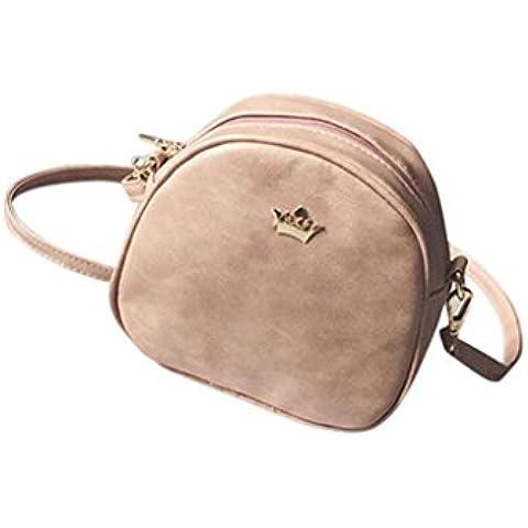 Tongshi Moda mujeres medio círculo bolso de cuero Crossbody hombro Messenger Bag