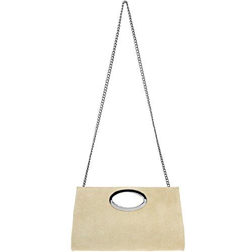 CASPAR TL699 große Damen XXL Wildleder Clutch Tasche Handtasche Abendtasche Ledertasche hell beige