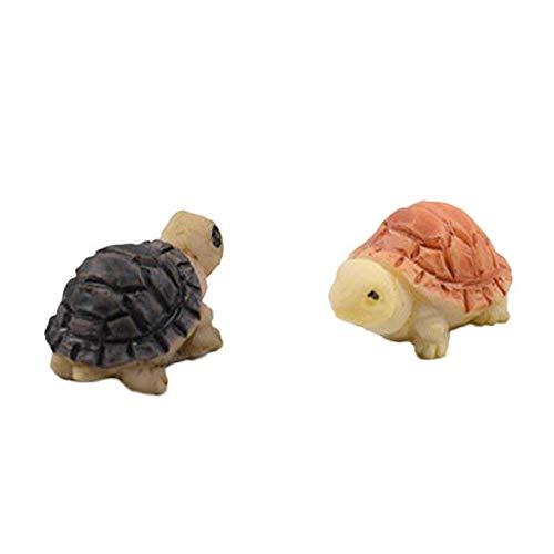 Mini tortuga de muñecas Bonsai tortuga decoraciones miniatura figura de hada de jardín pequeño paisaje juguete casa adorno DIY Kit de decoración de habitación de niños 2 piezas amarillo y negro