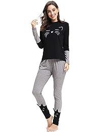 Aibrou Pijamas Mujer Algodon 2 Piezas Conjuntos Sexy e Elegante Manga Pantalon Largos,Suave Comodo y Agradable