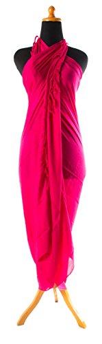 Riesen Auswahl - Sarong Pareo Wickelrock Strandtuch Tuch Wickeltuch Handtuch - Blickdicht - Einfarbig Handgefertigt inkl. Schnalle in Fischform Pink