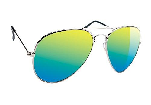 Damen Herren Pilot Sonnenbrille Polarisiert Spiegelglas + Abdeckung für Gläser Mirrored UV400 Romens Ltd (Green Mirrored)