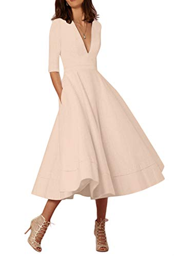 OMZIN Damen Partykleid 1950er Cocktailkleid Vintage Kleid Wadenlanges Abendkleid Plus Größe Khaki XXXL (Khaki Kleid Plus Größe)
