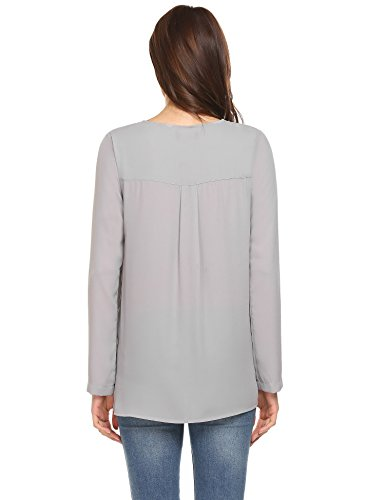 ... Finejo Damen Elegant Blusen Tunika Blusenshirt Langarmshirt Rundhals Oberteile  T-Shirt mit Reißverschluss Vorne Grau ... e697963d5e