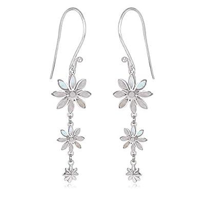 cadeau personnalisé femme-Pendants d'oreille -Nacre blanche-3 fleurs- Argent massif-Femme