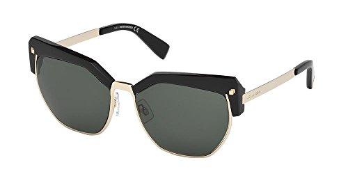 Dsquared2 Unisex-Erwachsene DQ0253 01N 56 Sonnenbrille, Schwarz (Nero Lucido/Verde),