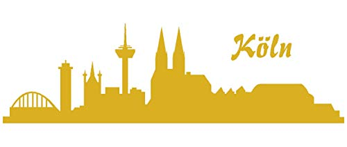 Samunshi® Autoaufkleber Köln Aufkleber Skyline in 8 Größen und 25 Farben (15x4,4cm goldmetalleffekt)