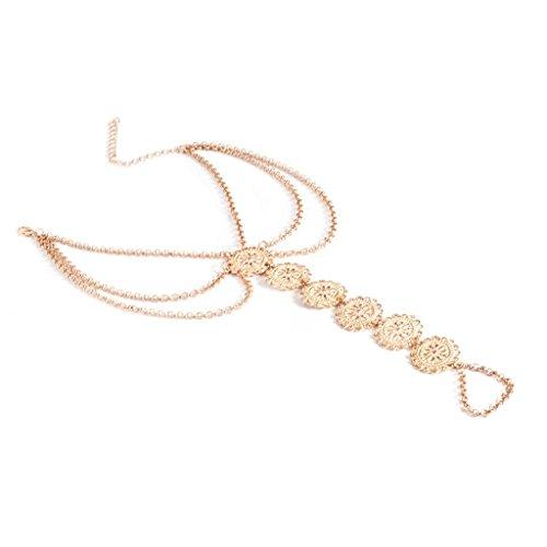 Epinki Damen Fußkettchen Fußkette Zehenkette Zehenring Knöchelkette mit Münzen Muscheln Kette Gold Knöchelkette