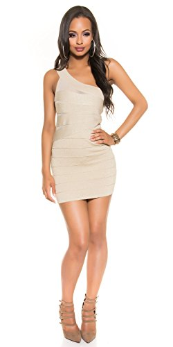 Sexy fineknitted One-Shoulder dress with lurex Koucla by In-Stylefashion SKU 0000ISF886001 Beige