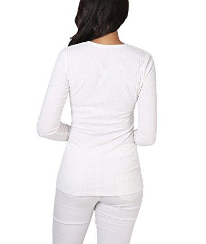 KRISP® Damen Leichte Cardigan Strickjacke mit Stretch und Streifen Maserung Cremeweiß (5398)