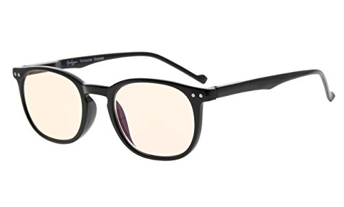 Eyekepper Vintage Amber Getönte Linsen Computer Brille-Antireflektierend, Blendschutz, UV-Schutz Männer Frauen Schwarz