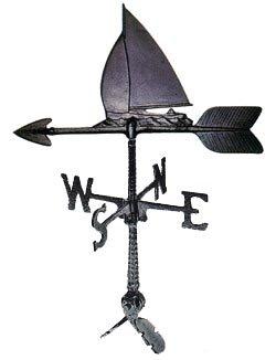 Montague Metall Produkte 24Wetterfahne mit Segelboot Ornament (Wetterfahne Segelboot)