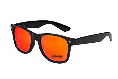 X-CRUZE® 8-109 X0 Nerd Sonnenbrille Retro Vintage Design Style Stil Unisex Herren Damen Männer Frauen Brille Nerdbrille - schwarz und rot-orange verspiegelt
