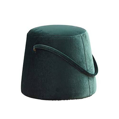 JiaQi Tuffeté Ottoman Tabouret,Tabouret canapé,Reste de Pouf Durable Salon Tabouret Rond pour Adultes et Enfants Créatif Tabouret Bas-Vert 36x33cm(14x13inch)