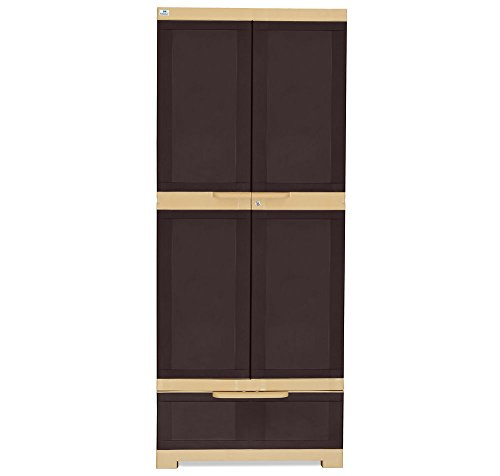 @home by Nilkamal Freedom Cabinet with 1 Drawer (Weather Brown and Biscuit)