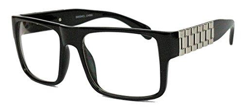 Herren Flat Top Retro Fashion Brille rechteckig Streberbrille Nerdbrille Gold Chain LXN (Schwarz / - Armband Lehrer Silber